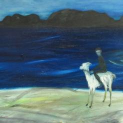 Kaukauset rannat, oljy kankaalle, 70x140 cm, 2017