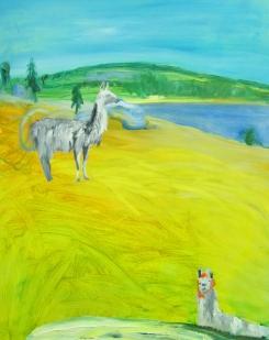 Laamattaren seikkailu, oil on canvas, 80x65 cm, 2017